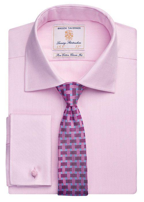 Andora Classic Fit Shirt Cotton Herringbone