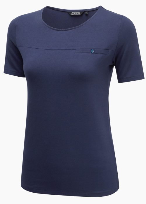 DAISY - Soft touch stretch jersey with round neck and seam/pocket detail