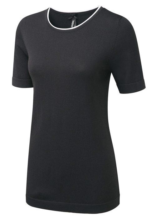 GEMMA - Round neck ladies  top with white trim