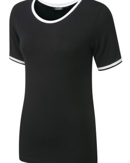 LEXIE - Soft touch stretch jersey with round neck and seam/pocket detail