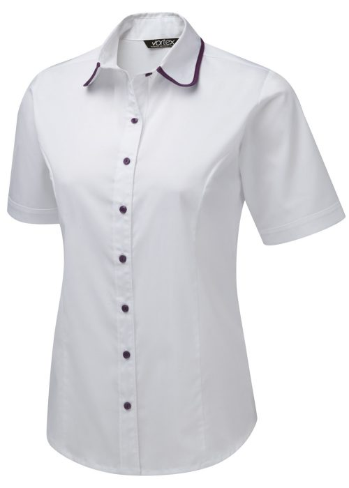 RUBY - Shirt style Cotton Touch Stretch blouse Short sleeve