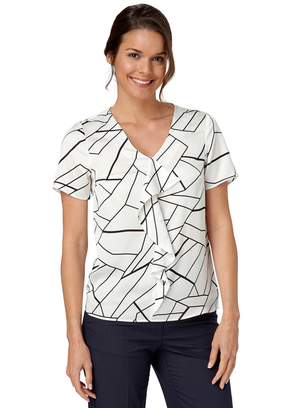 TILLY - Shatter Print Frill Front Shell Top